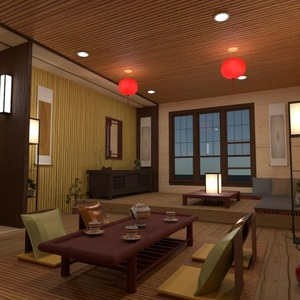 planos muebles decoración salón iluminación comedor 3d