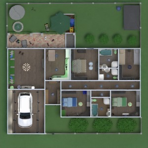 floorplans dom taras meble łazienka sypialnia pokój dzienny garaż kuchnia na zewnątrz pokój diecięcy przechowywanie wejście 3d
