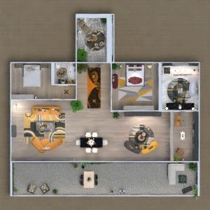floorplans butas terasa baldai dekoras apšvietimas 3d