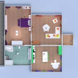 floorplans butas namas miegamasis svetainė virtuvė valgomasis 3d