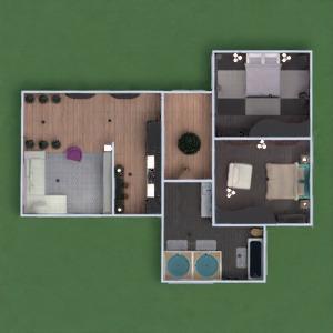 floorplans appartement meubles décoration salle de bains chambre à coucher salon cuisine eclairage 3d