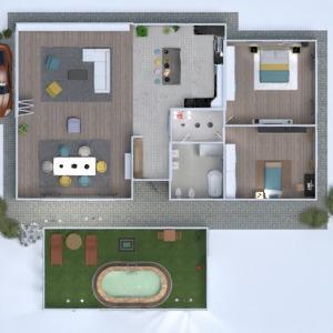 floorplans namas svetainė garažas virtuvė biuras 3d