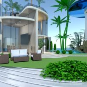 floorplans apartment house terrace living room outdoor lighting landscape architecture 3d