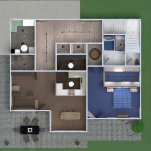 floorplans butas namas terasa baldai vonia miegamasis svetainė garažas virtuvė eksterjeras vaikų kambarys valgomasis аrchitektūra 3d