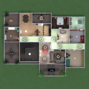 floorplans apartamento mobílias decoração casa de banho dormitório quarto garagem cozinha área externa iluminação sala de jantar despensa patamar 3d