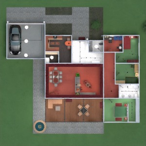 floorplans butas namas terasa baldai vonia miegamasis svetainė garažas virtuvė eksterjeras vaikų kambarys apšvietimas valgomasis аrchitektūra studija prieškambaris 3d