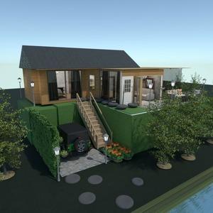 planos casa terraza exterior paisaje descansillo 3d