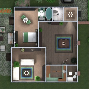 floorplans wohnung haus terrasse mobiliar badezimmer schlafzimmer wohnzimmer küche outdoor esszimmer architektur lagerraum, abstellraum studio eingang 3d