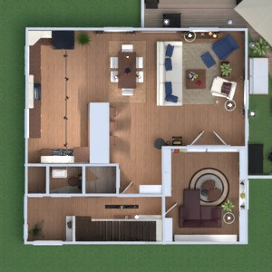 floorplans maison meubles salon cuisine salle à manger 3d