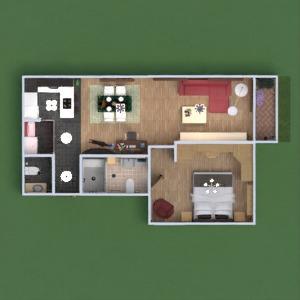 floorplans apartamento casa de banho dormitório quarto cozinha 3d