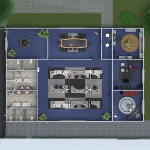 floorplans mobílias área externa escritório 3d