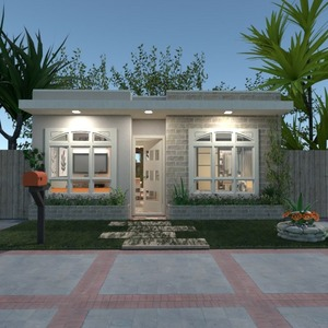 floorplans maison salle de bains chambre à coucher cuisine extérieur 3d