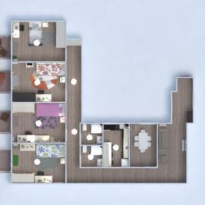 floorplans apartamento mobílias casa de banho dormitório cozinha 3d