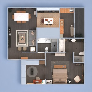floorplans butas baldai dekoras vonia miegamasis svetainė virtuvė apšvietimas аrchitektūra studija 3d