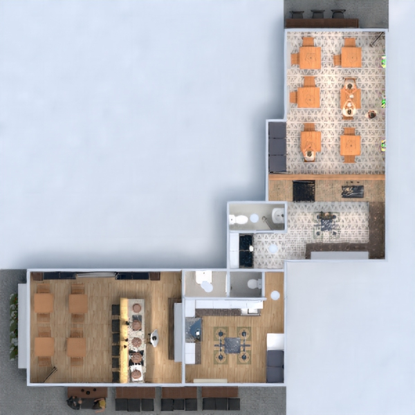 floorplans terrace outdoor lighting architecture 3d