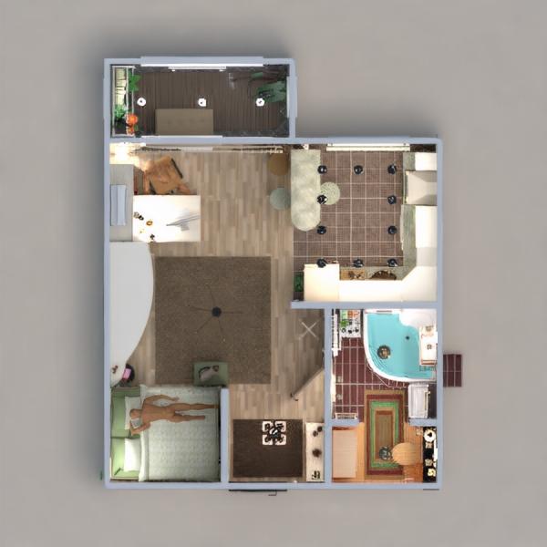 floorplans apartamento cuarto de baño dormitorio cocina despacho estudio descansillo 3d