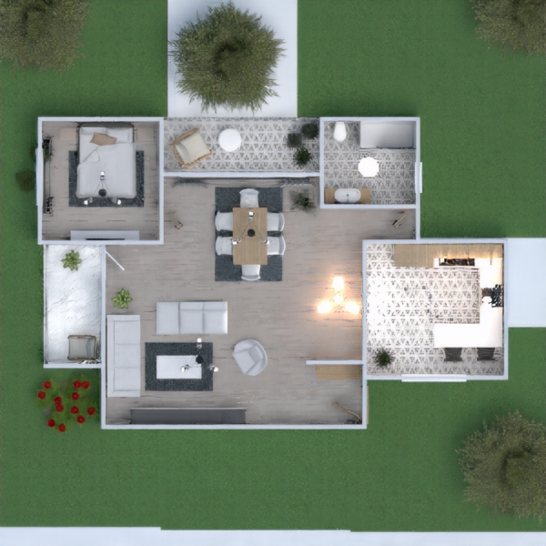 floorplans mobílias cozinha utensílios domésticos sala de jantar arquitetura 3d