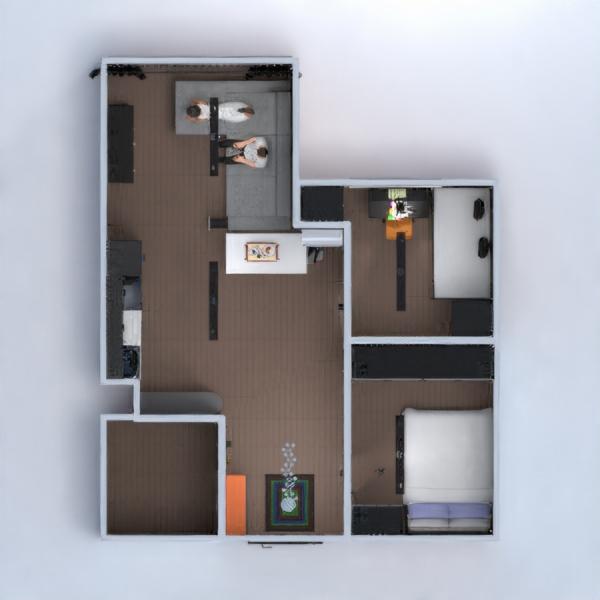 floorplans apartamento dormitorio salón cocina habitación infantil 3d