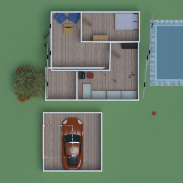 floorplans baldai dekoras garažas eksterjeras vaikų kambarys 3d