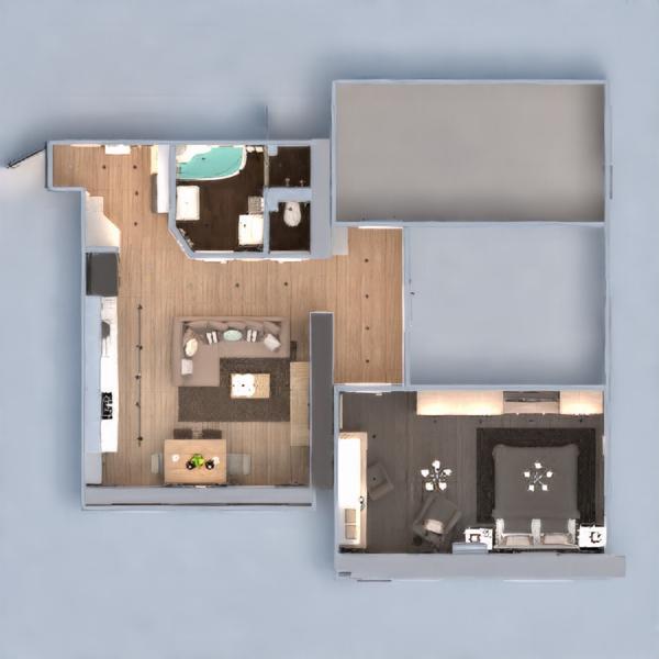 floorplans butas namas baldai dekoras miegamasis svetainė virtuvė apšvietimas renovacija namų apyvoka sandėliukas studija 3d