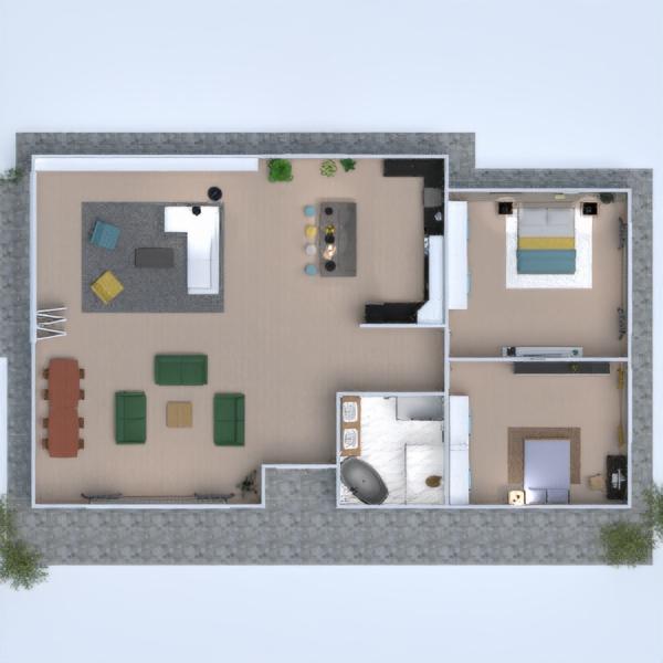 floorplans maison chambre à coucher salon cuisine salle à manger 3d
