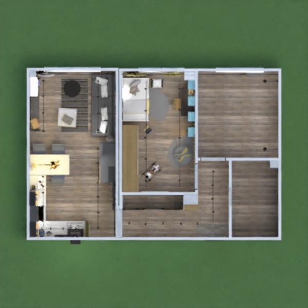 floorplans dom sypialnia pokój dzienny kuchnia pokój diecięcy 3d