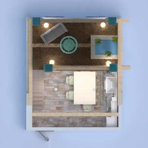 floorplans terasa svetainė virtuvė valgomasis 3d