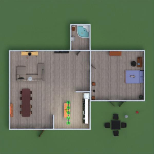 floorplans terasa vonia miegamasis svetainė virtuvė 3d