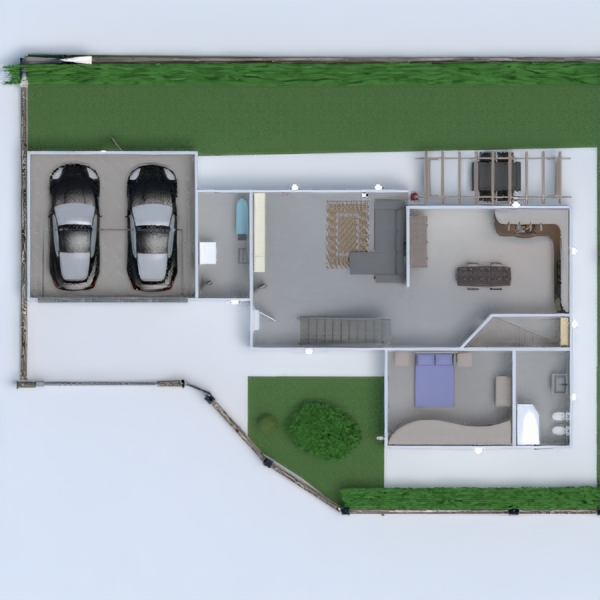 floorplans casa cucina esterno cameretta famiglia 3d