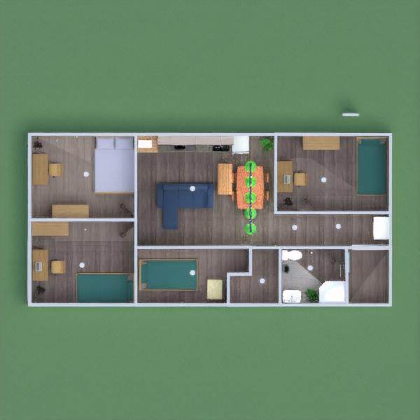 floorplans dom meble sypialnia pokój dzienny kuchnia 3d