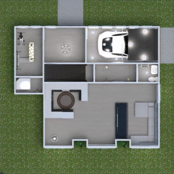 floorplans namas svetainė garažas virtuvė eksterjeras 3d
