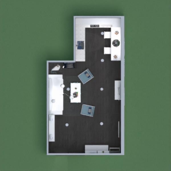 floorplans dekoras svetainė virtuvė apšvietimas valgomasis 3d
