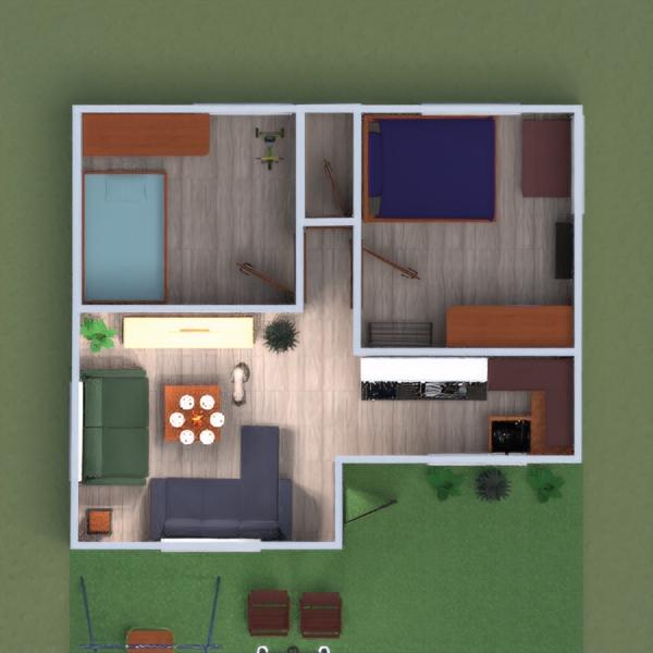 floorplans casa dormitorio salón cocina habitación infantil 3d