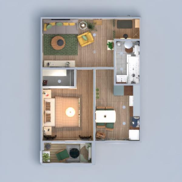 floorplans apartamento decoración dormitorio salón 3d