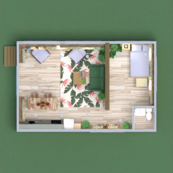 floorplans namas miegamasis virtuvė valgomasis 3d