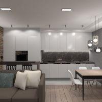 floorplans butas baldai dekoras svetainė virtuvė apšvietimas renovacija sandėliukas studija 3d