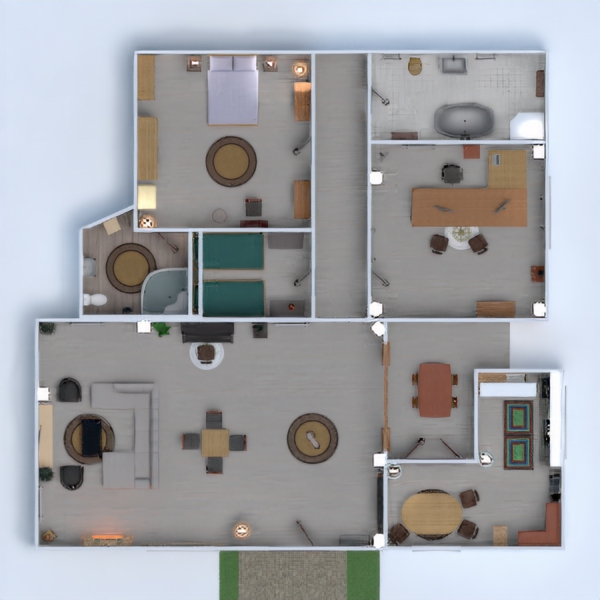 floorplans jadalnia mieszkanie typu studio 3d