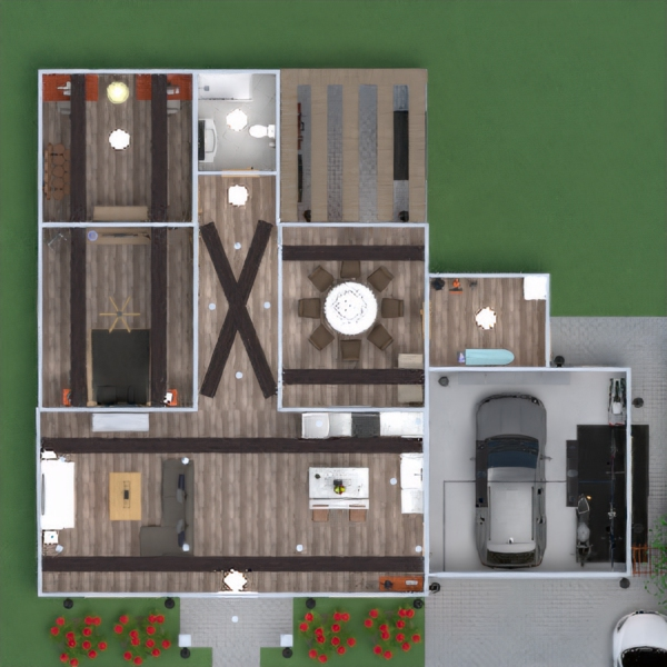 floorplans house garage 3d