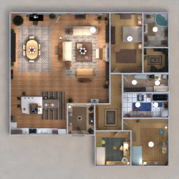 floorplans apartamento muebles decoración cuarto de baño dormitorio salón cocina habitación infantil iluminación hogar comedor arquitectura trastero descansillo 3d