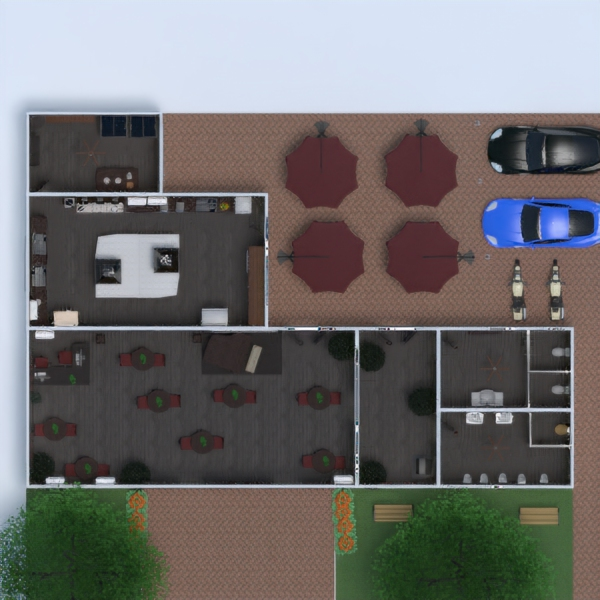 floorplans meble garaż kuchnia krajobraz wejście 3d