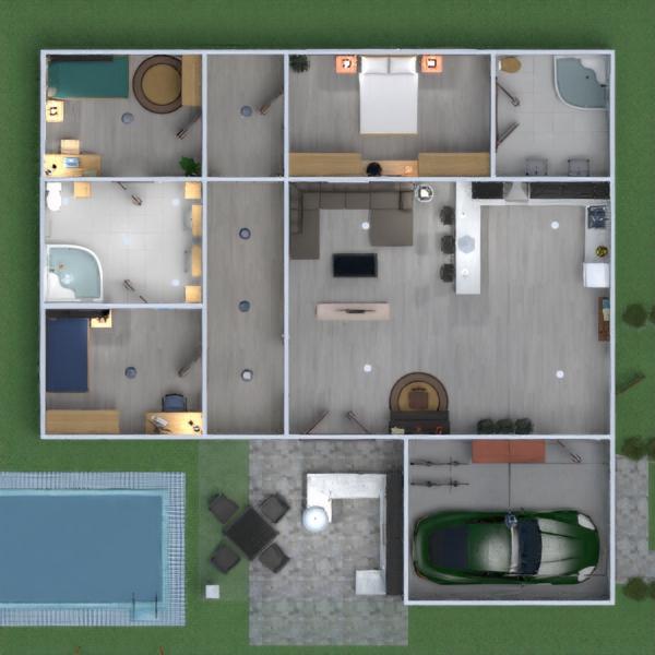 floorplans salle de bains chambre à coucher salon maison 3d