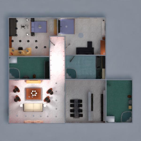 floorplans butas baldai dekoras vonia miegamasis svetainė virtuvė apšvietimas valgomasis prieškambaris 3d
