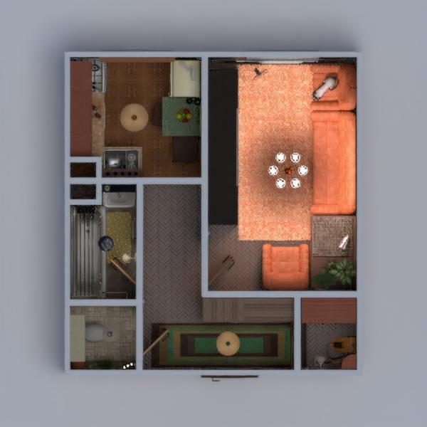 floorplans mieszkanie łazienka pokój dzienny kuchnia przechowywanie wejście 3d