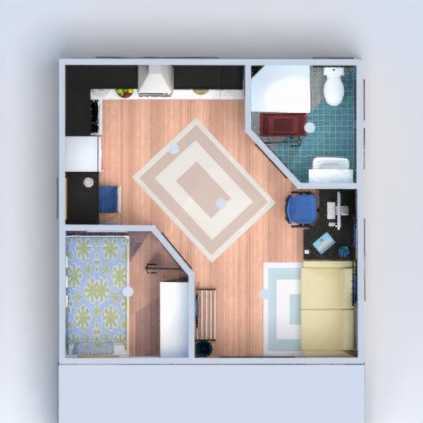 floorplans appartement salle de bains chambre à coucher salon 3d