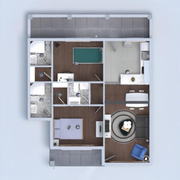 floorplans casa dormitorio salón cocina reforma 3d