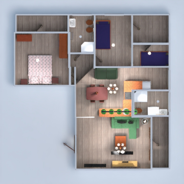 floorplans apartment house furniture decor bedroom living room kitchen kids room lighting household cafe dining room architecture 3d