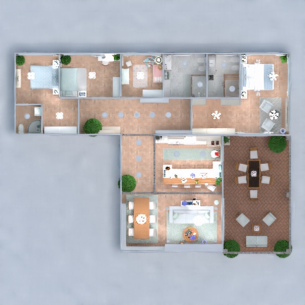 floorplans cuarto de baño dormitorio salón cocina exterior 3d