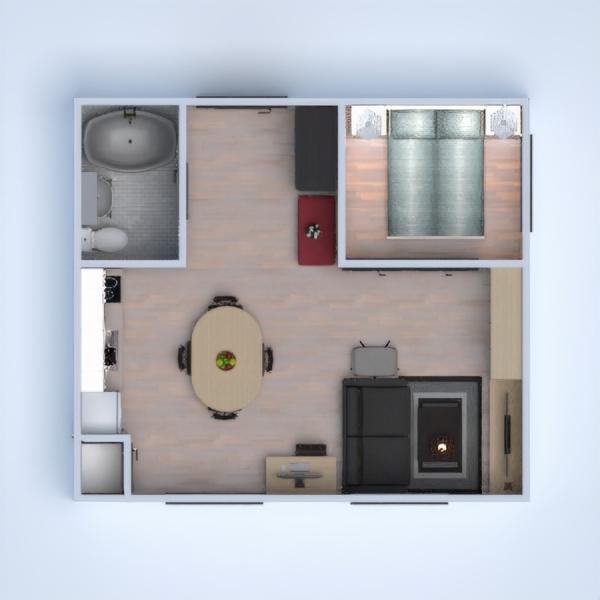 floorplans apartamento mobílias decoração casa de banho cozinha 3d