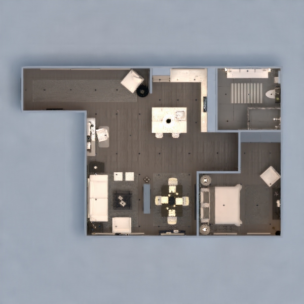 floorplans appartamento cucina illuminazione rinnovo monolocale 3d