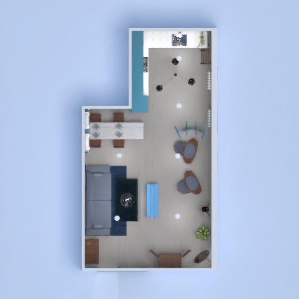 floorplans maison salon cuisine eclairage salle à manger 3d